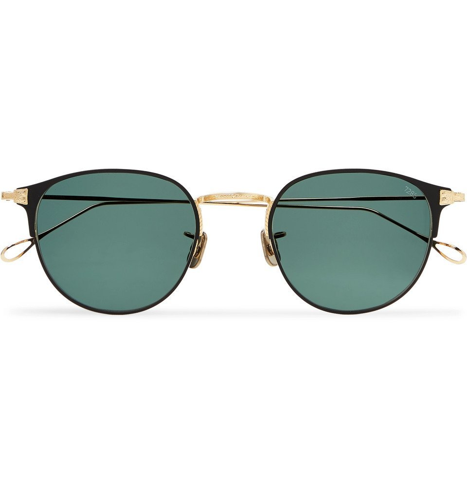Photo: Eyevan 7285 - Round-Frame Acetate and Gold-Tone Titanium Sunglasses - Black