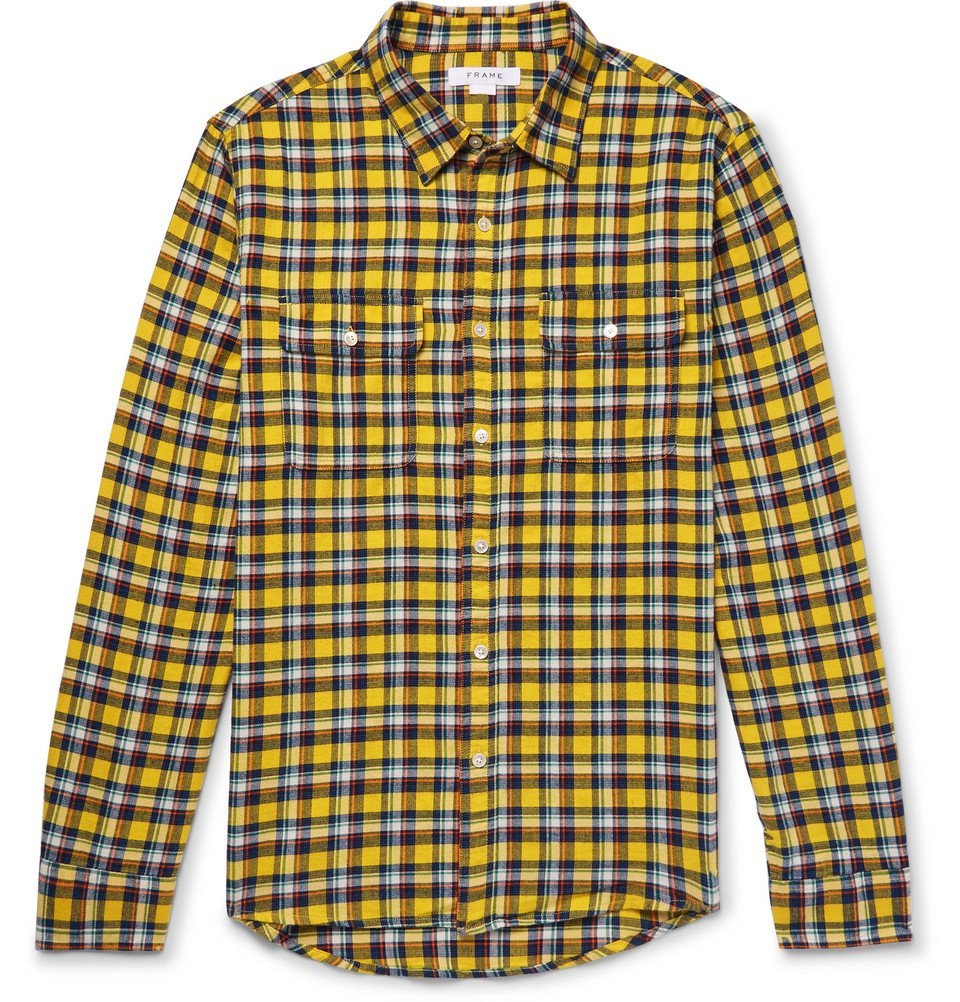 Photo: FRAME - Wowona Checked Cotton-Flannel Shirt - Yellow