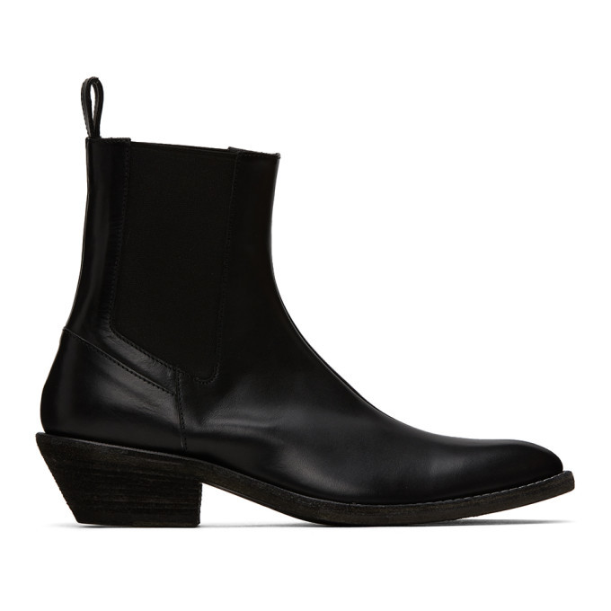 Photo: Haider Ackermann Black Elasticated Cowboy Chelsea Boots