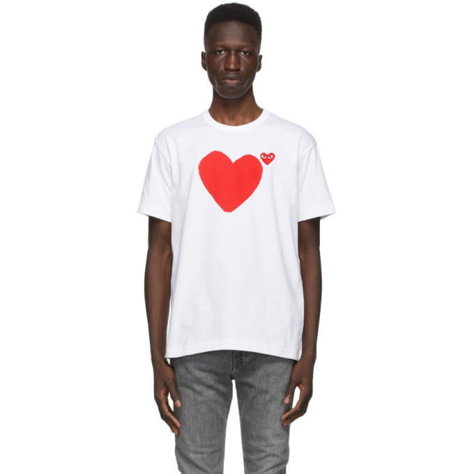 Photo: Comme des Garcons Play White Front and Back Heart T-Shirt
