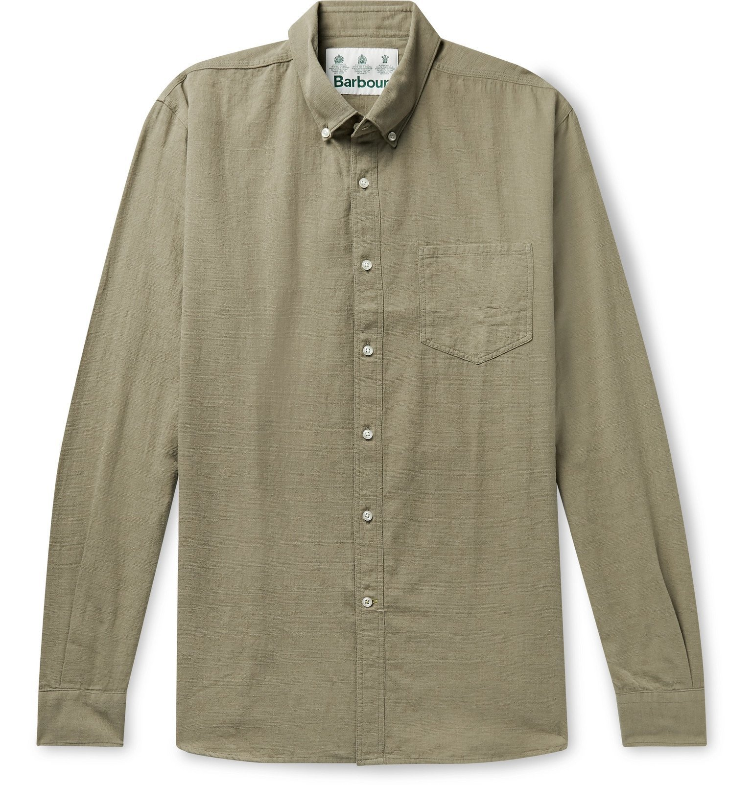 Photo: Barbour White Label - Dunbar Button-Down Collar Slub Cotton Shirt - Green