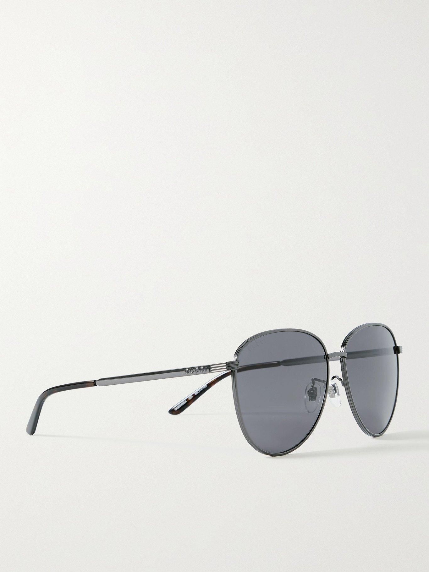 Photo: GUCCI - Aviator-Style Gunmetal-Tone Sunglasses - Gray