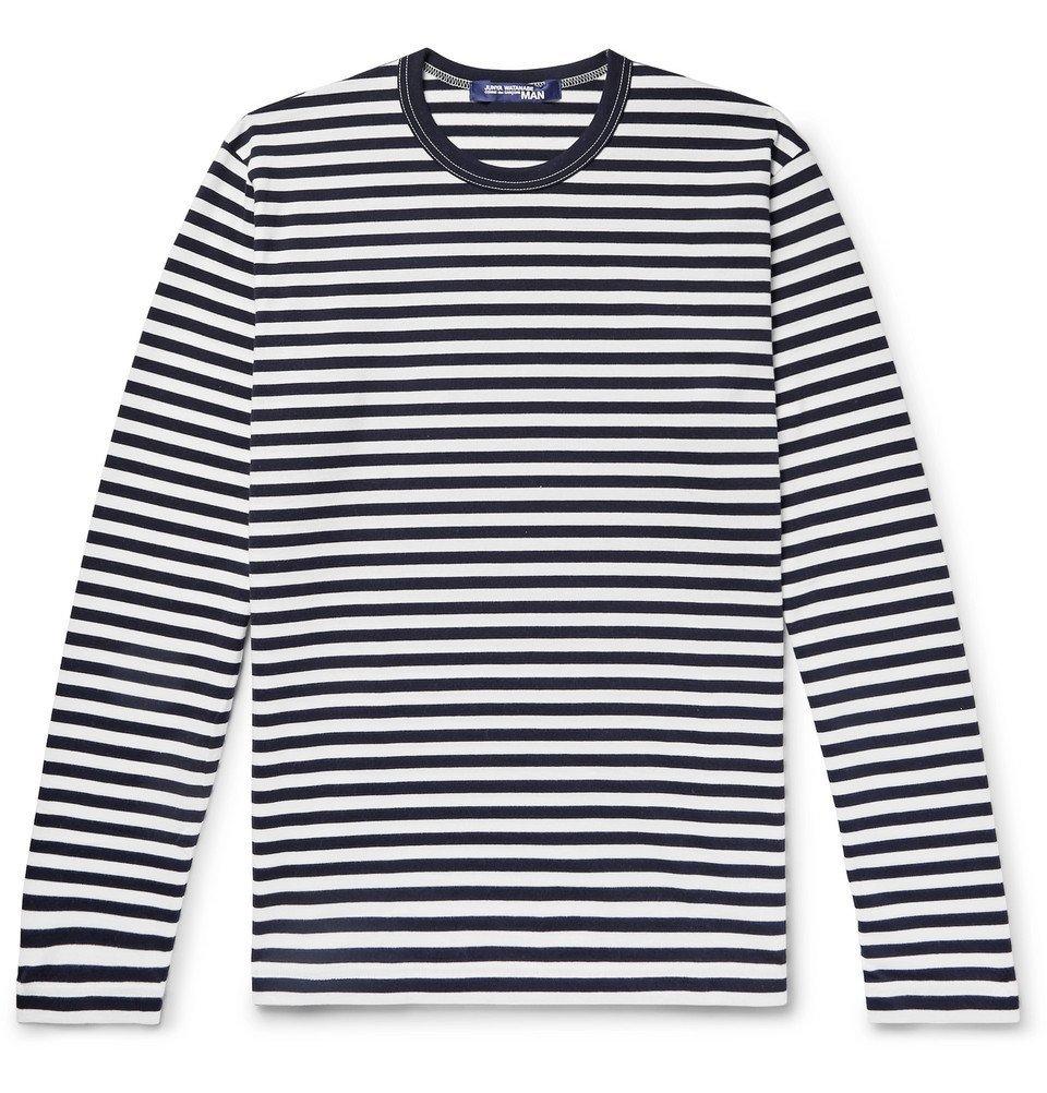 Photo: Junya Watanabe - Striped Cotton-Jersey T-Shirt - Midnight blue