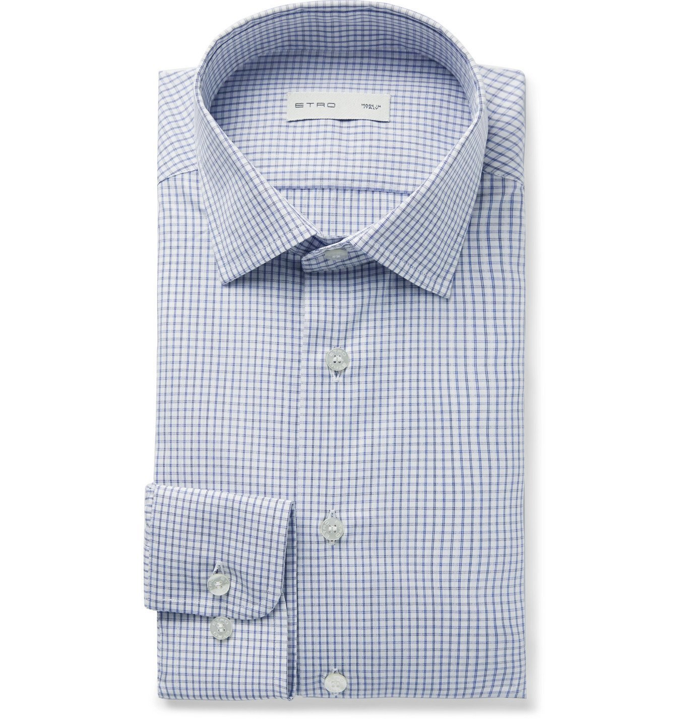 Photo: Etro - Checked Cotton-Voile Shirt - White