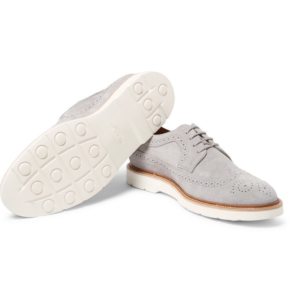 Tod's - Suede Longwing Brogues - Men - Gray