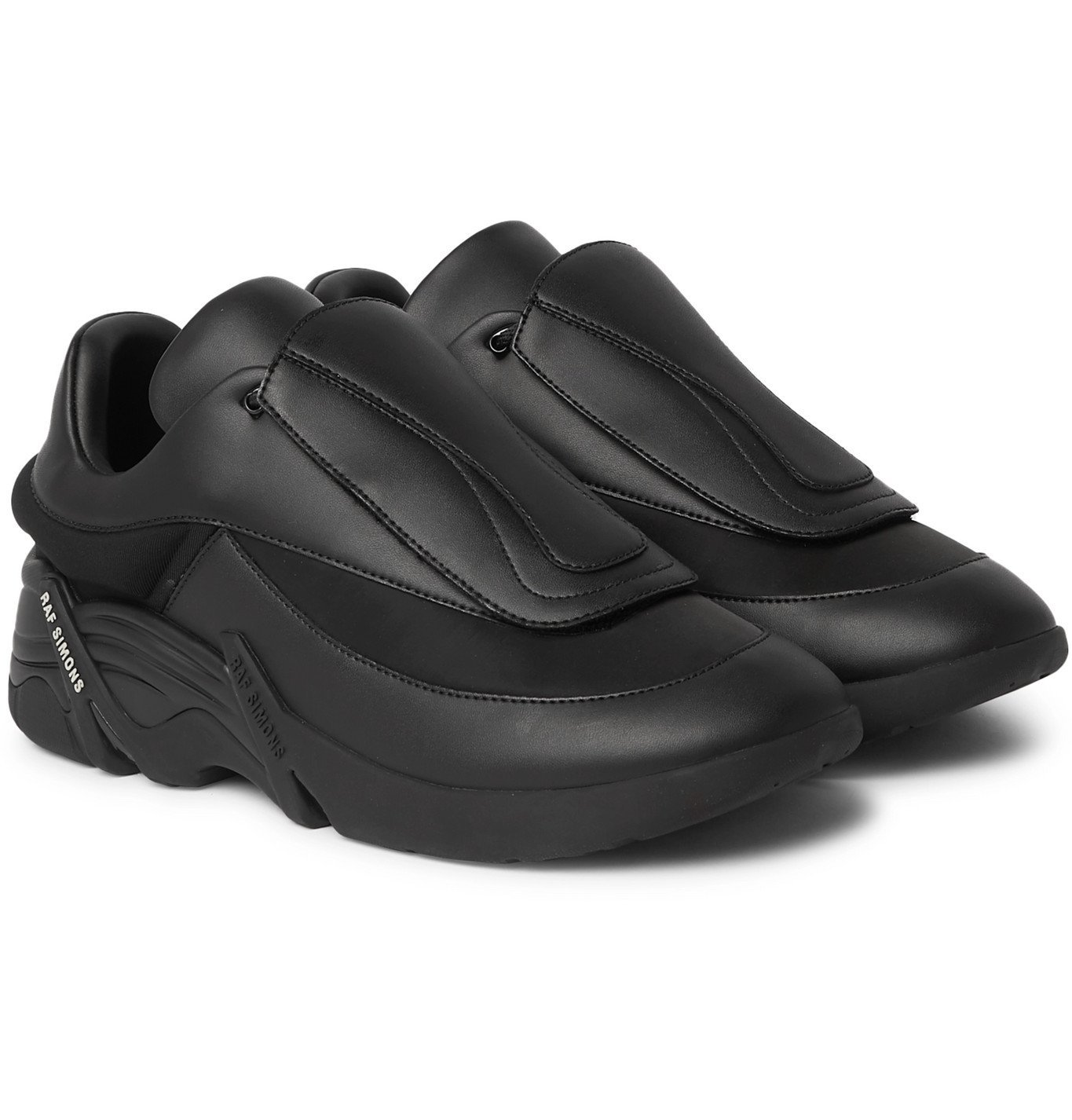 Raf Simons - Antei Rubber-Trimmed Leather Sneakers - Black