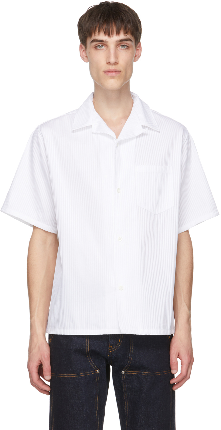 Photo: 4SDESIGNS White Wide Camp Short Sleeve Shirt