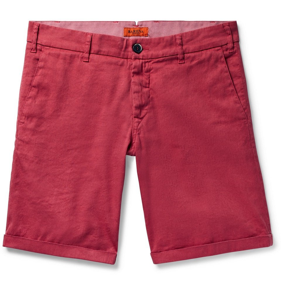 Photo: Barena - Linen and Cotton-Blend Shorts - Red