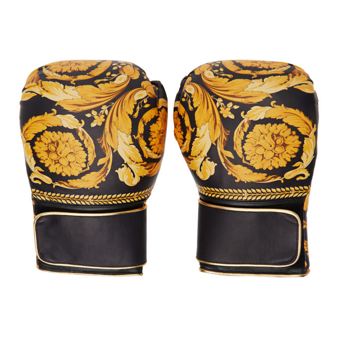 Photo: Versace Black Barocco Boxing Gloves