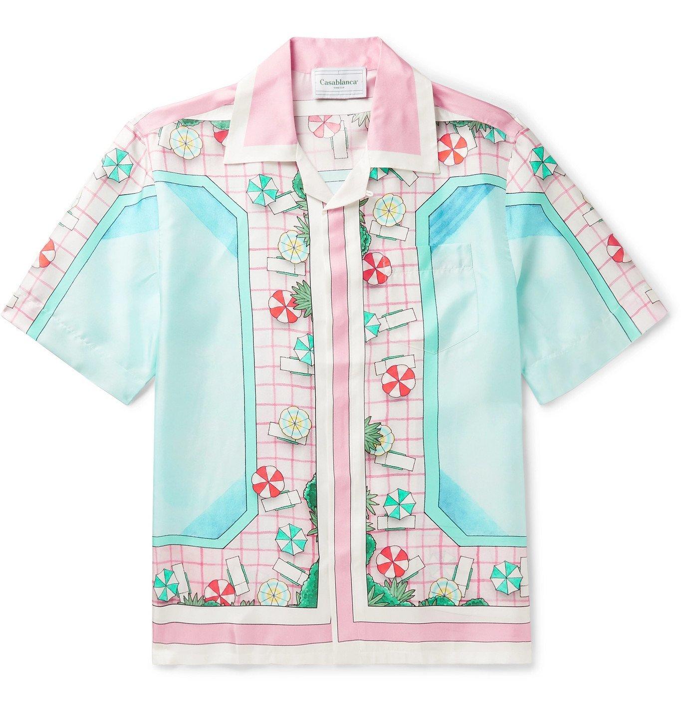 Photo: Casablanca - Camp-Collar Printed Silk-Twill Shirt - Pink