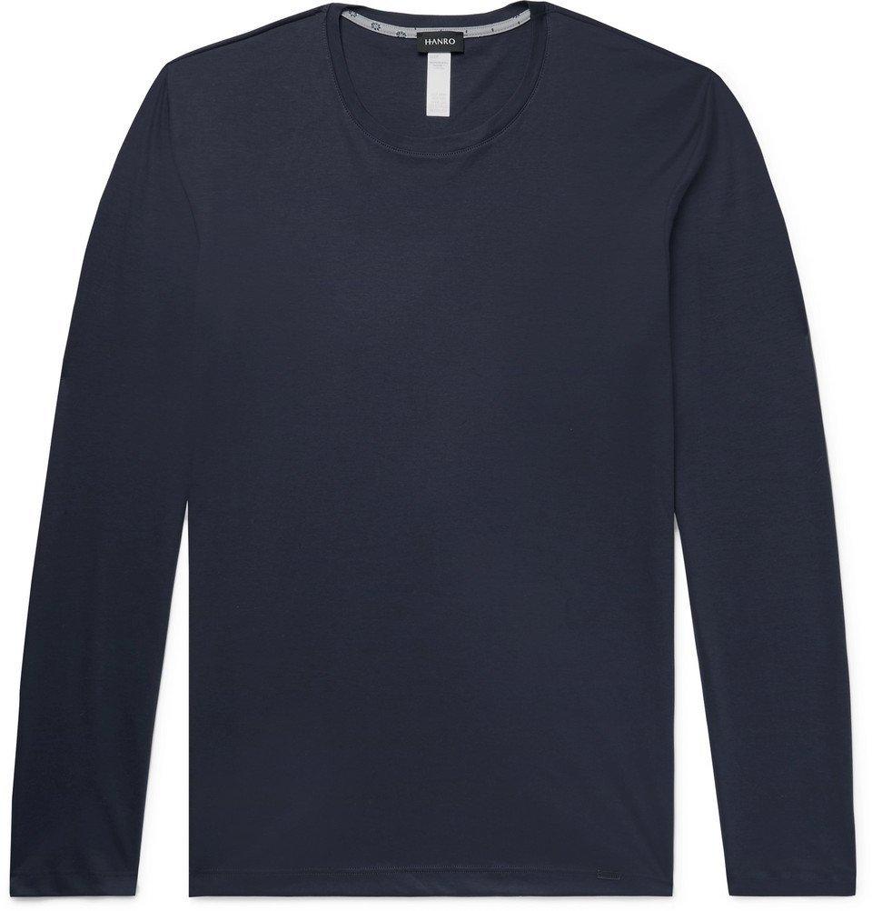 Hanro - Printed Cotton-Jersey Pyjama Top - Men - Navy