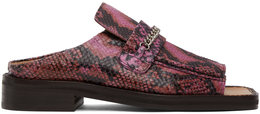 Photo: Martine Rose Pink Snake Open Toe Loafers