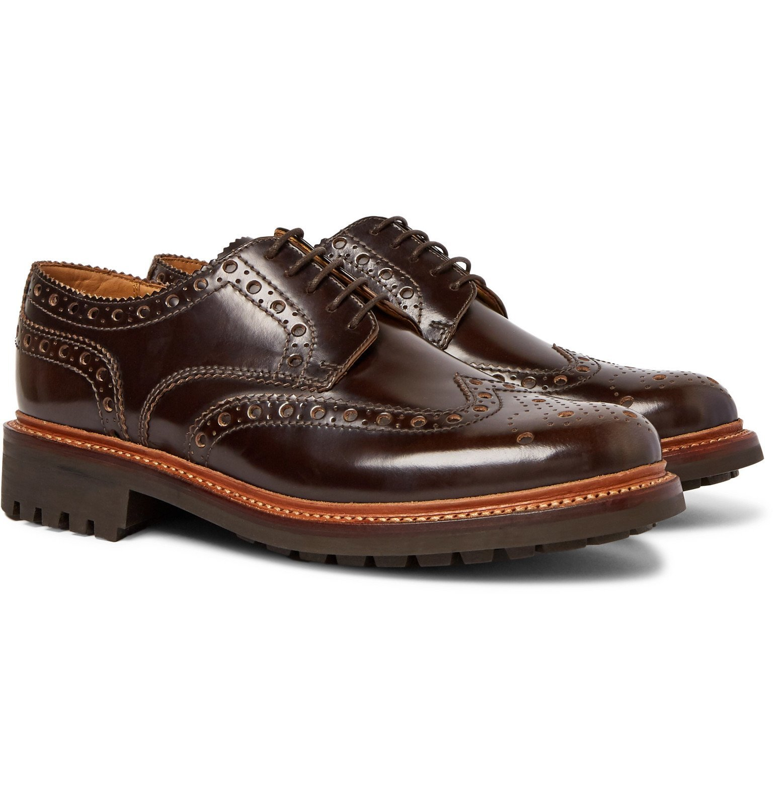 Photo: Grenson - Archie Leather Wingtip Brogues - Brown