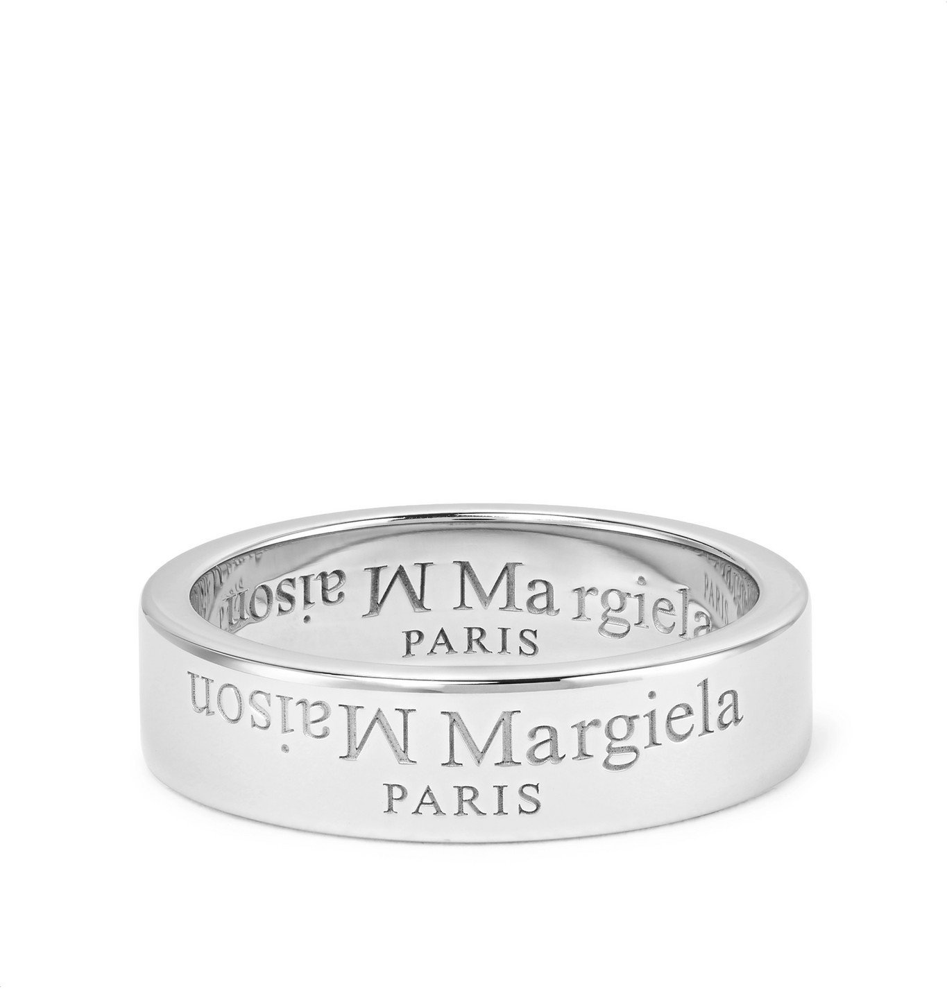 Photo: Maison Margiela - Logo-Engraved Sterling Silver Ring - Silver
