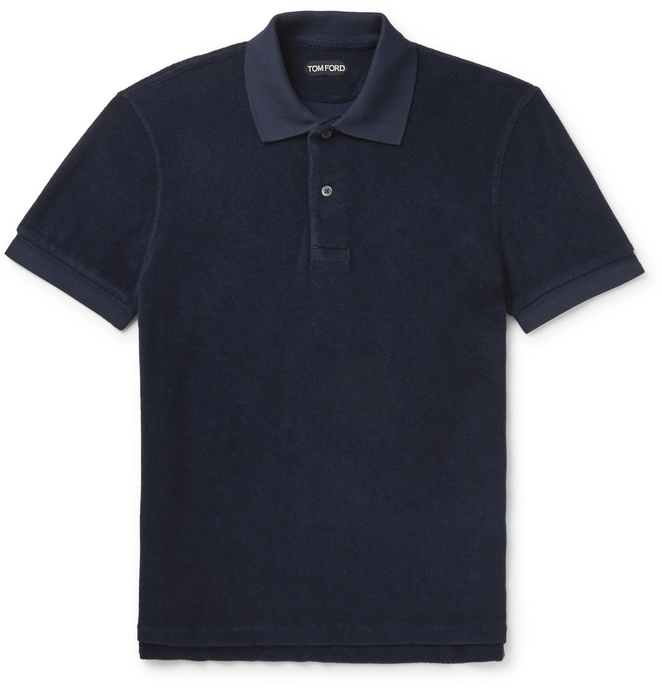 Photo: TOM FORD - Slim-Fit Logo-Embroidered Cotton-Terry Polo Shirt - Blue