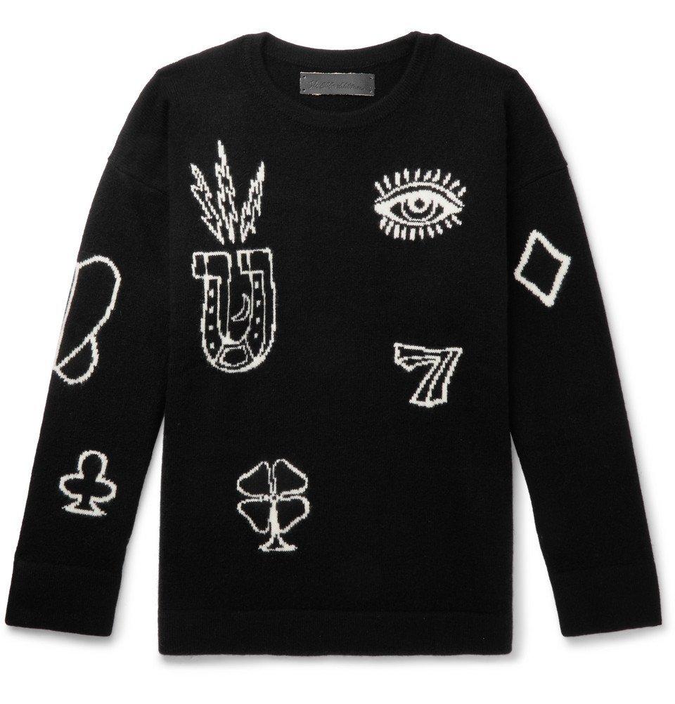 Photo: The Elder Statesman - Intarsia Cashmere Sweater - Black
