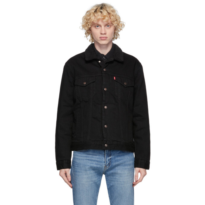 Photo: Levis Black Denim Sherpa Trucker Jacket