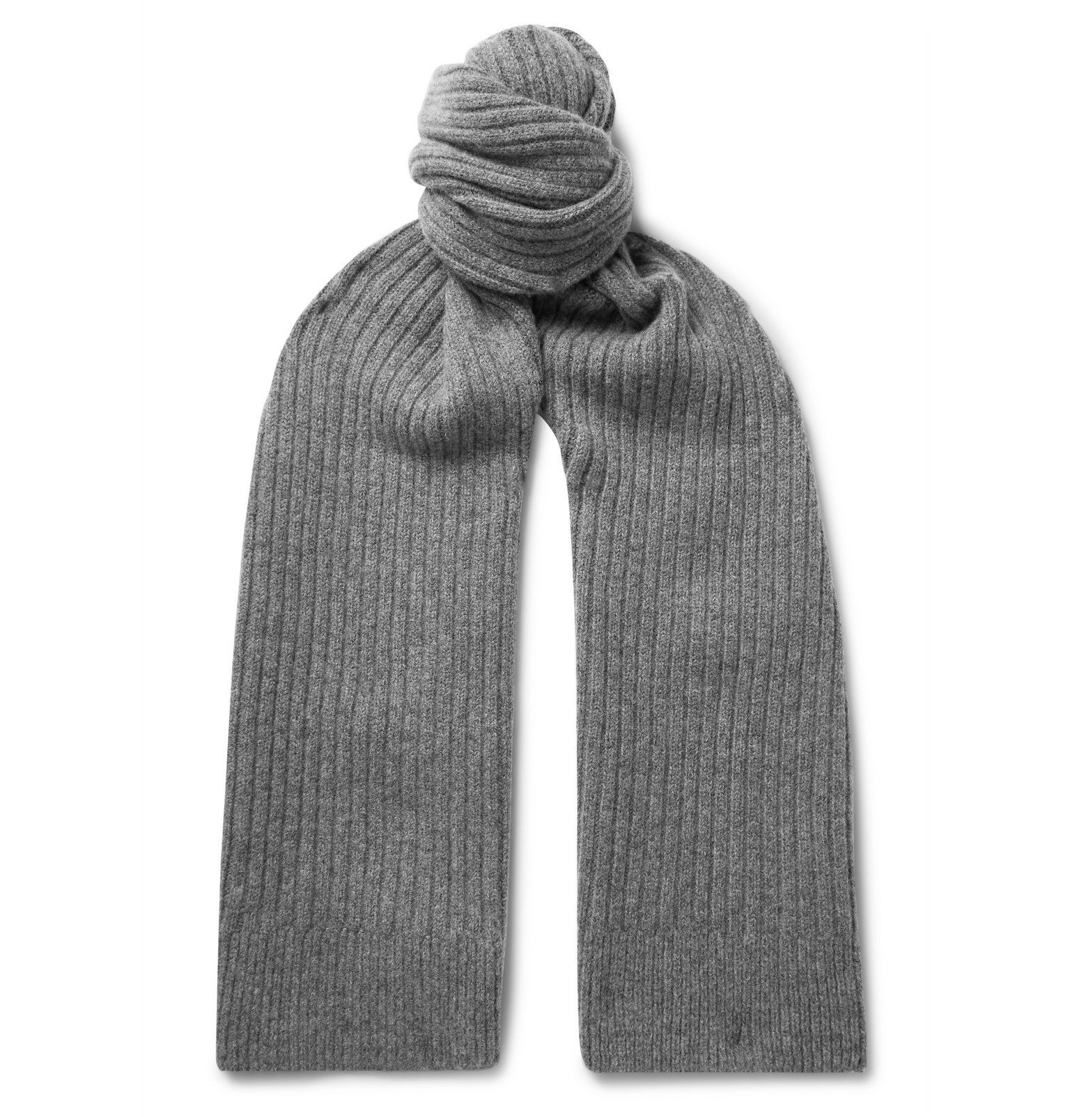Photo: Sunspel - Ribbed Lambswool Scarf - Gray