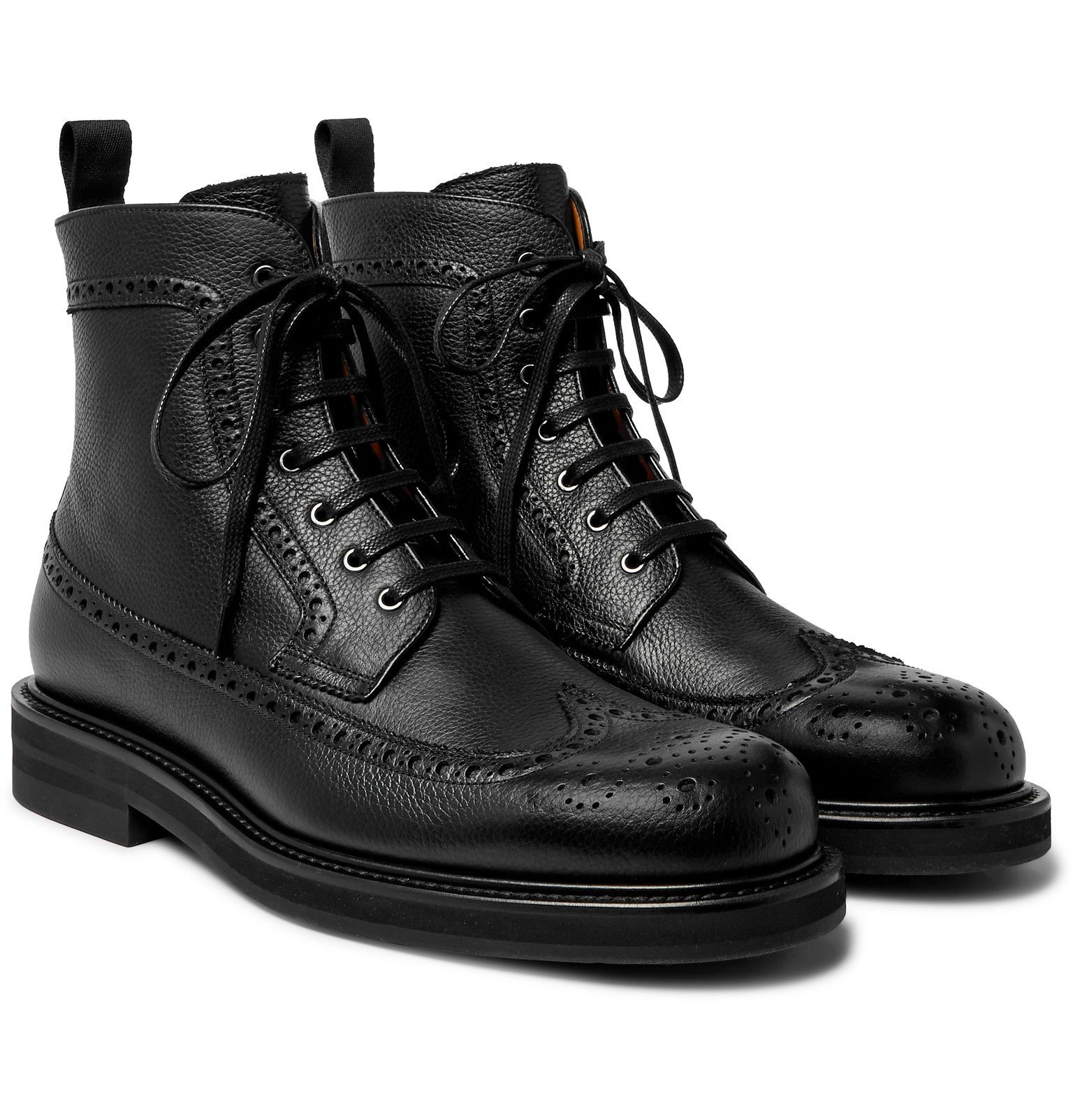 Photo: Mr P. - Jacques Full-Grain Leather Brogue Boots - Black