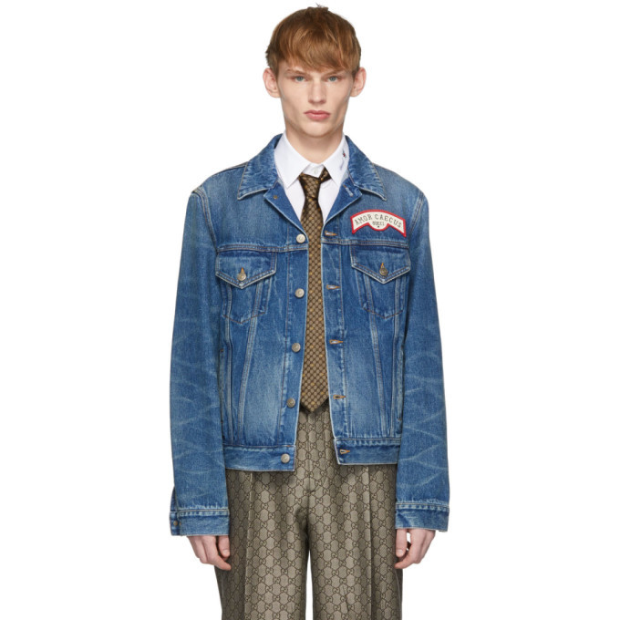 Photo: Gucci Blue Denim Oversize Patches Jacket