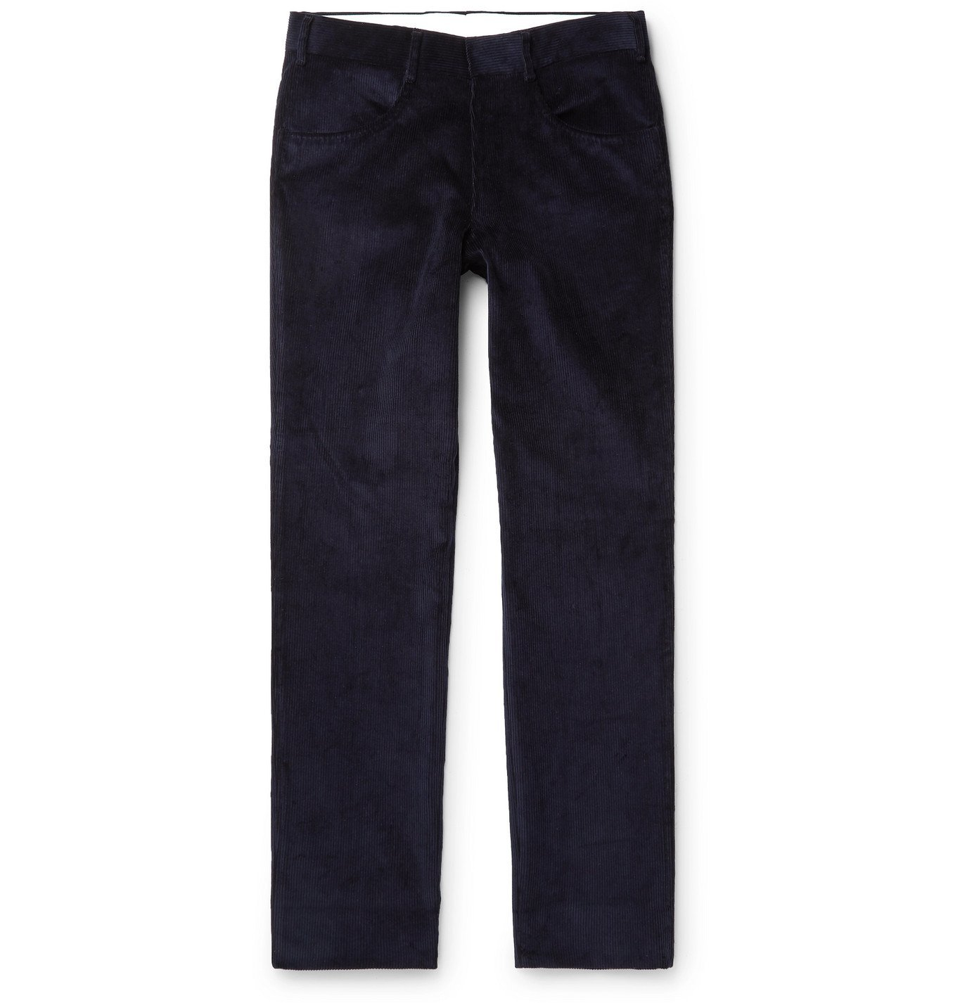 Photo: Anderson & Sheppard - Slim-Fit Cotton-Corduroy Trousers - Blue