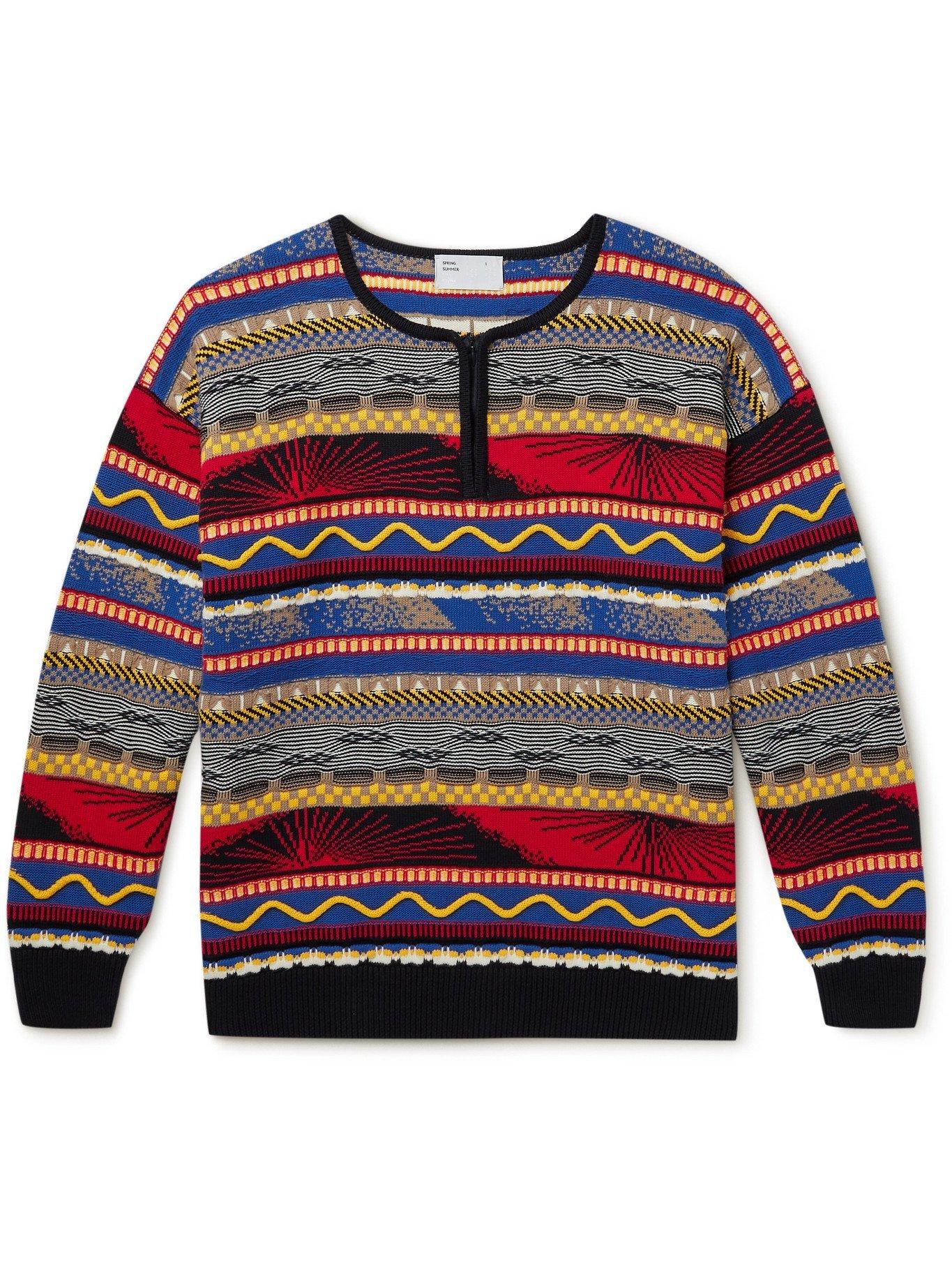 Photo: 4SDESIGNS - Striped Cotton Half-Zip Sweater - Multi
