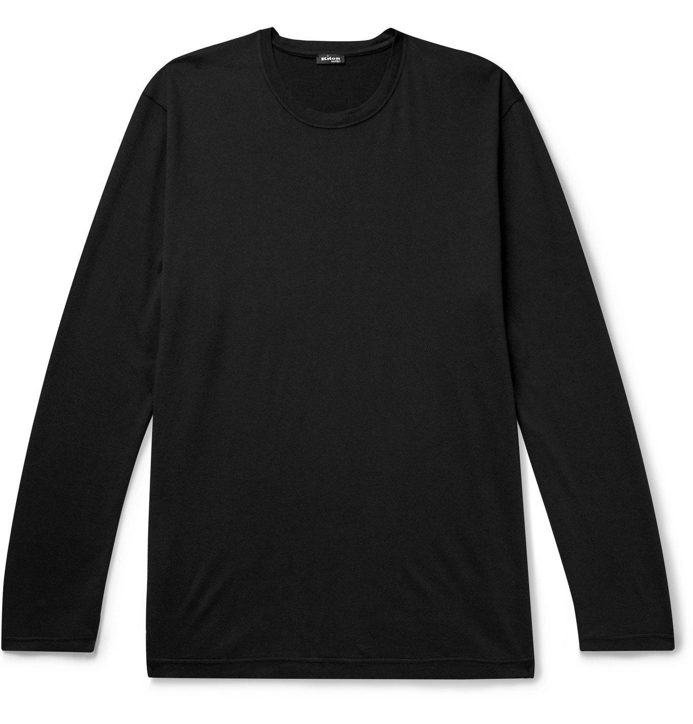 Photo: Kiton - Cotton and Cashmere-Blend T-Shirt - Blue
