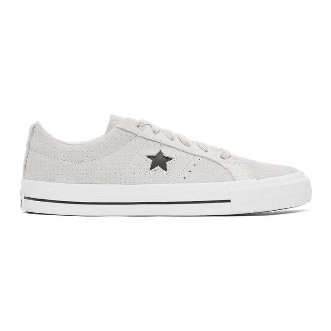 Photo: Converse Taupe Suede Perforated One Star Pro Low Sneakers