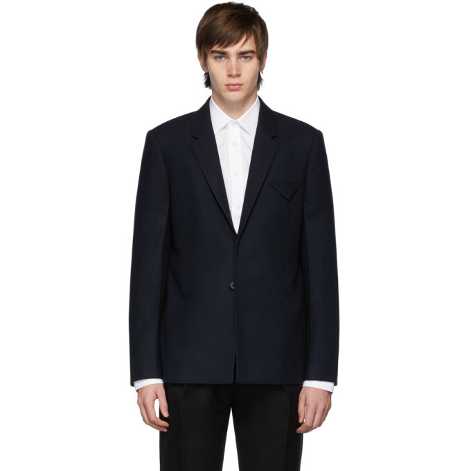 Photo: Bottega Veneta Navy Light Felted Wool Blazer