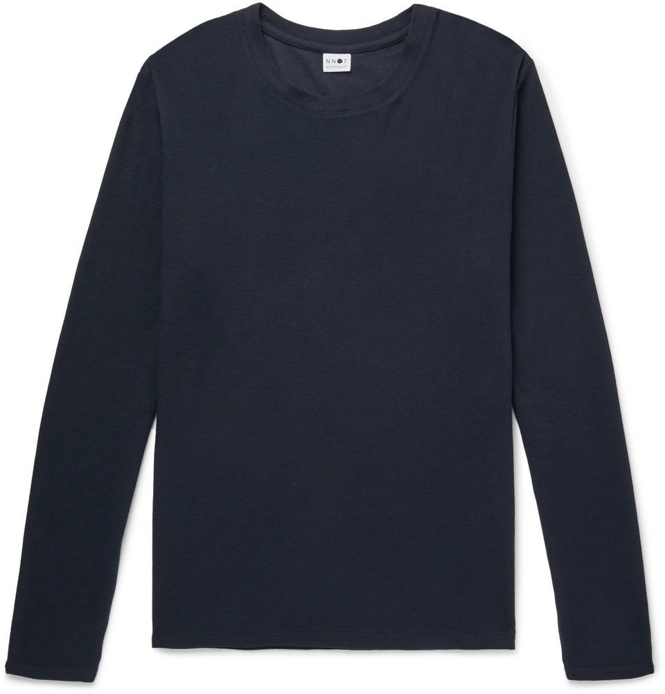 Photo: NN07 - Clive Waffle-Knit Cotton and Modal-Blend T-Shirt - Navy