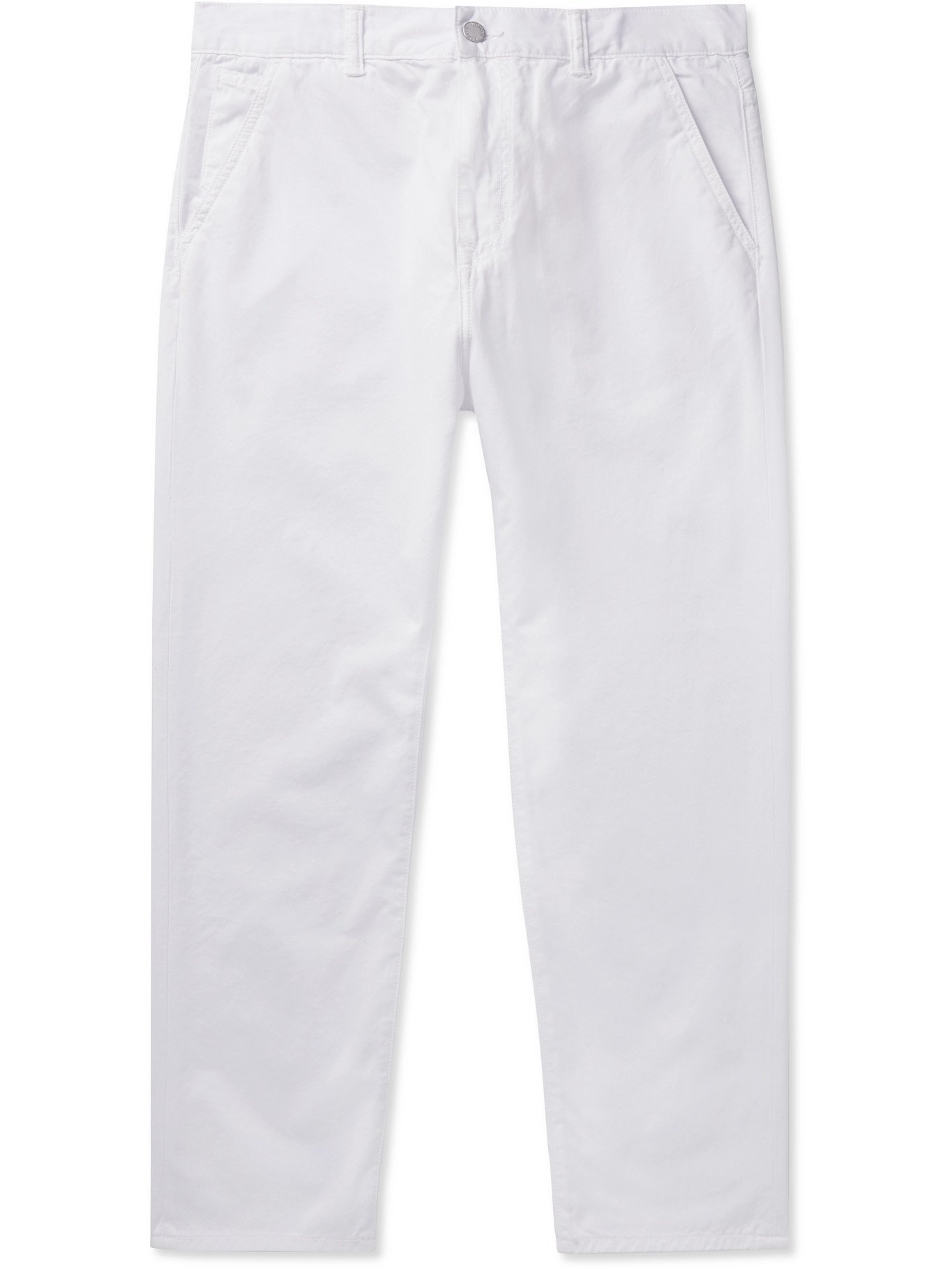 Photo: EDWIN - Universe Slim-Fit Cropped Garment-Dyed Cotton-Twill Trousers - White