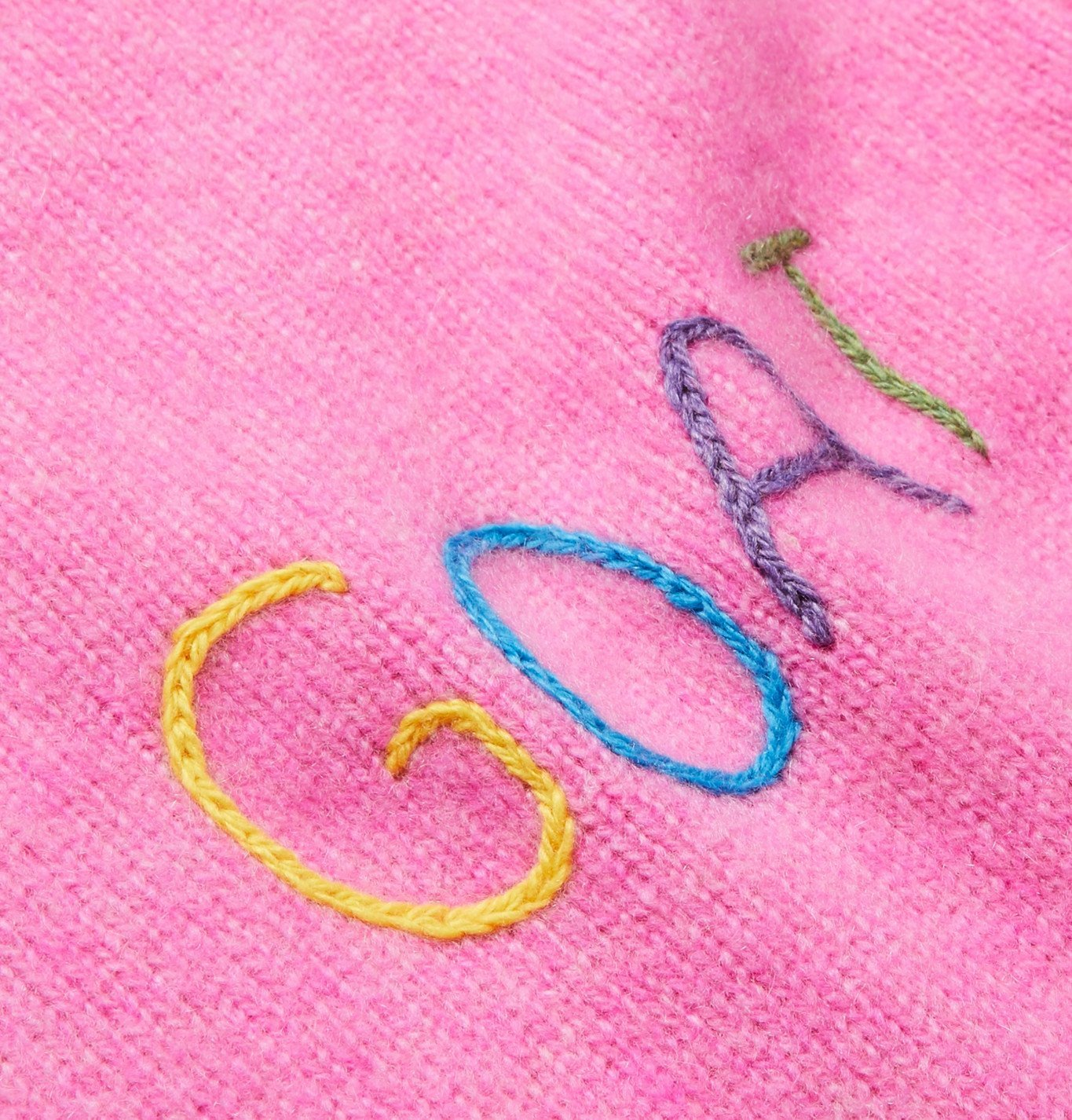The Elder Statesman - Embroidered Cashmere Sweater - Pink