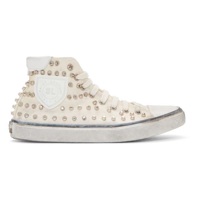 Photo: Saint Laurent White Studded Bedford High-Top Sneakers