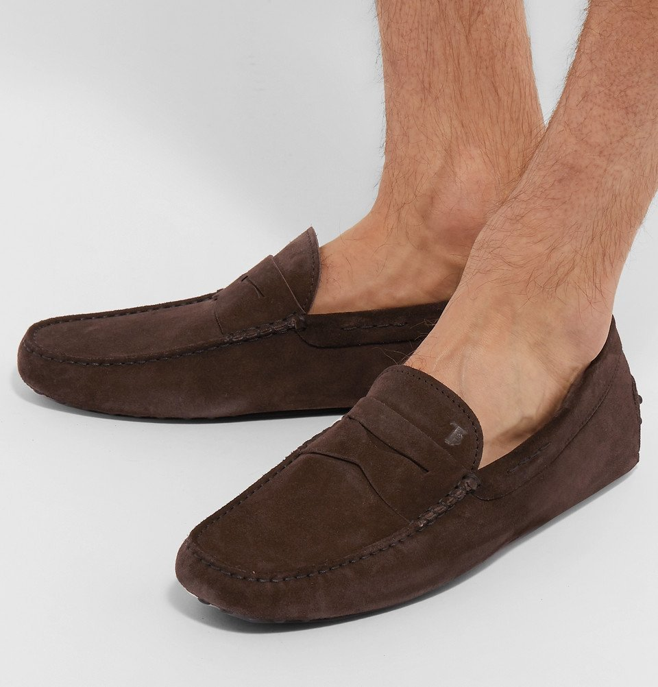 Tod's - Gommino Suede Driving Shoes - Dark brown