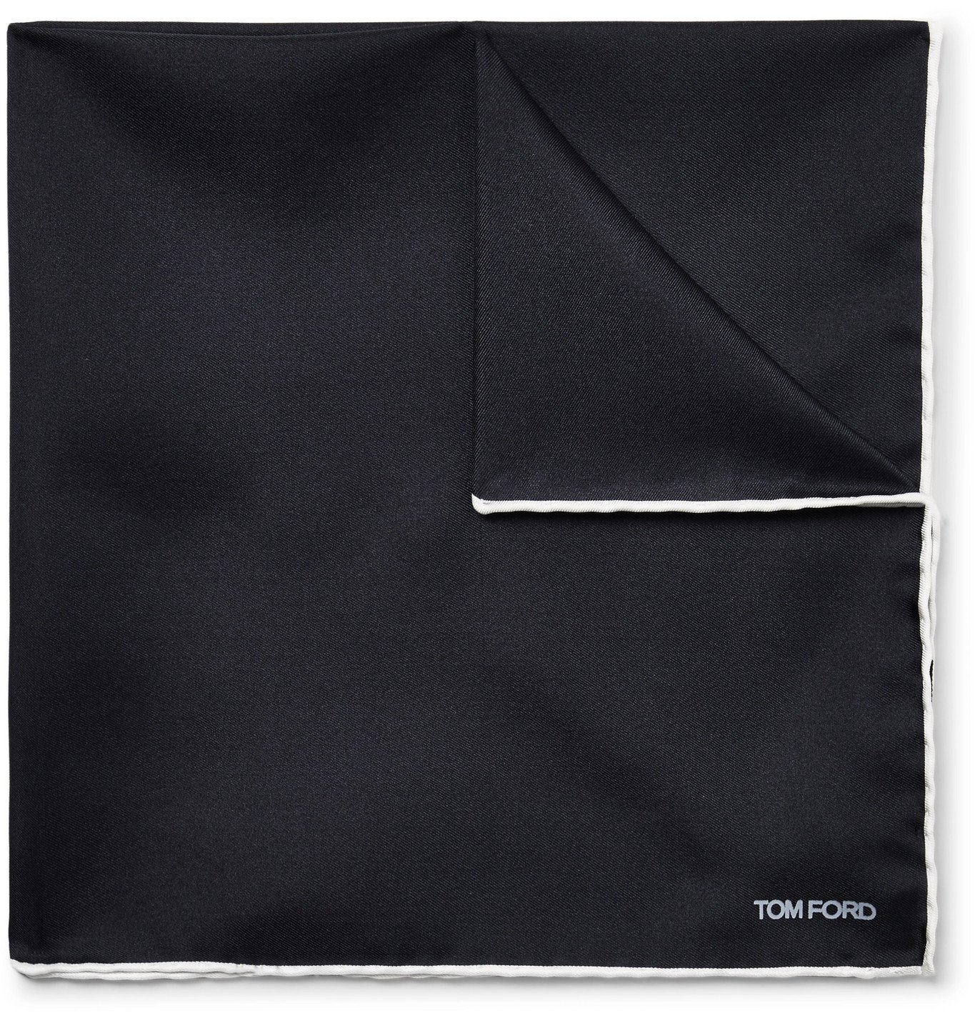 TOM FORD - Contrast-Tipped Silk-Twill Pocket Square - Blue
