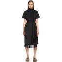 Sacai Black Poplin Pleated Dress