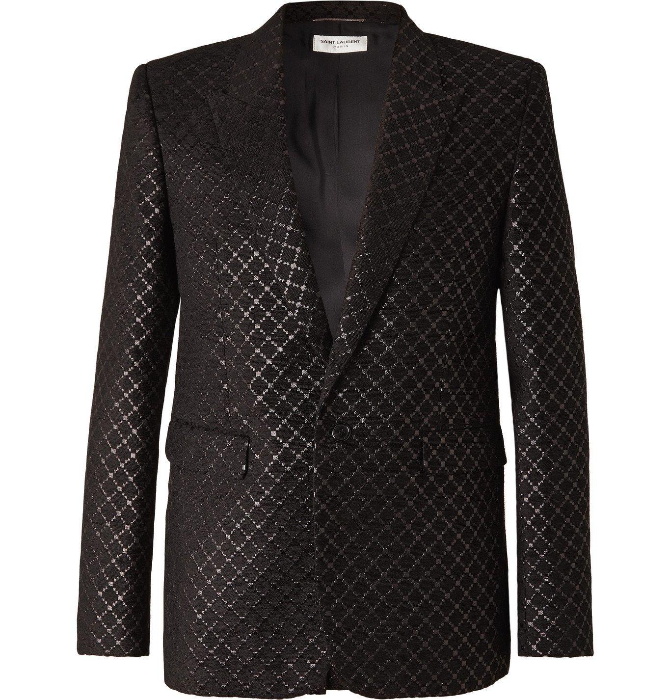 Photo: SAINT LAURENT - Metallic Jacquard Blazer - Black