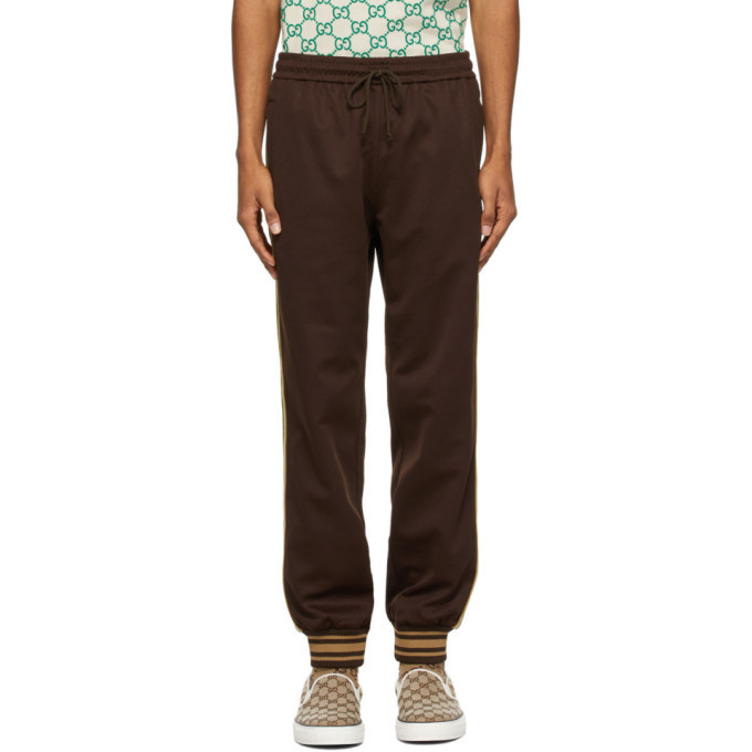 Photo: Gucci Brown Technical Jersey Lounge Pants