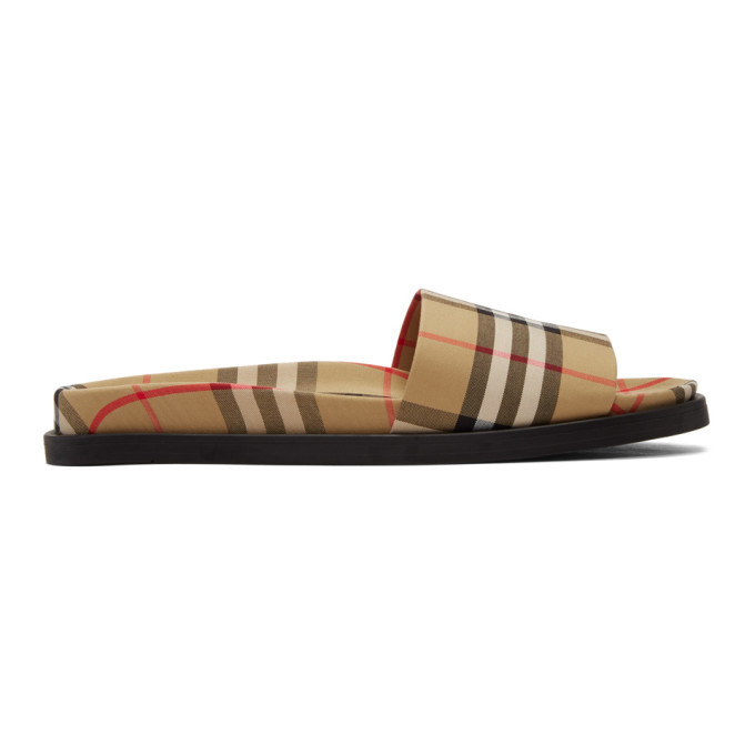 Photo: Burberry Beige Check Ashmore Slides