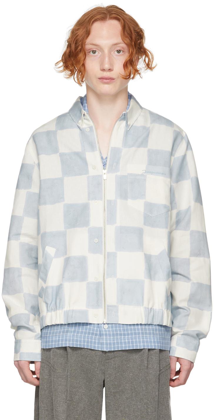 Photo: Jacquemus Blue & White 'Le Blouson Chemise' Jacket