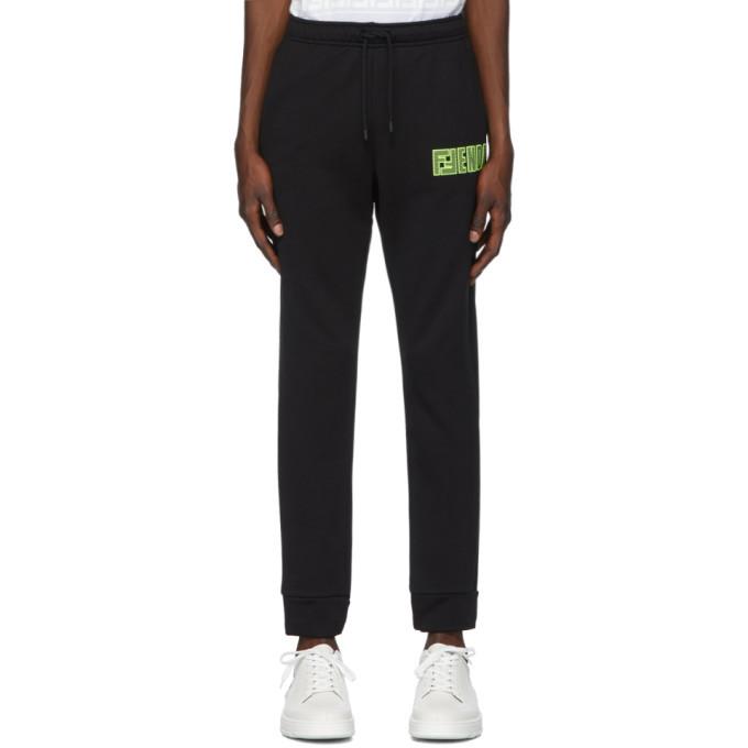 Photo: Fendi Black Fluo Logo Lounge Pants