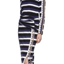 3.1 Phillip Lim Navy Striped Wrap Fitted Skirt