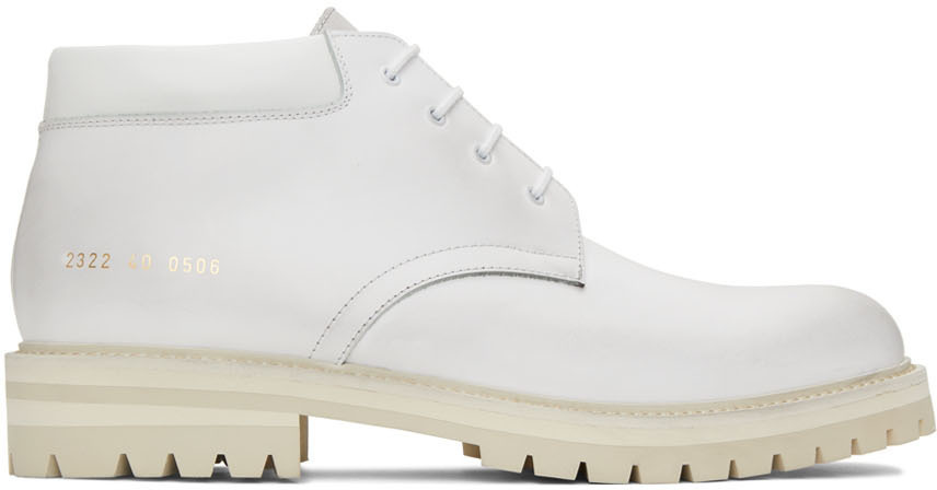 Photo: Common Projects White Combat Derby Lace-Up Boots