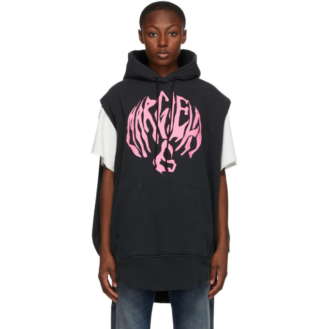 Photo: MM6 Maison Margiela Black Long Logo Hoodie