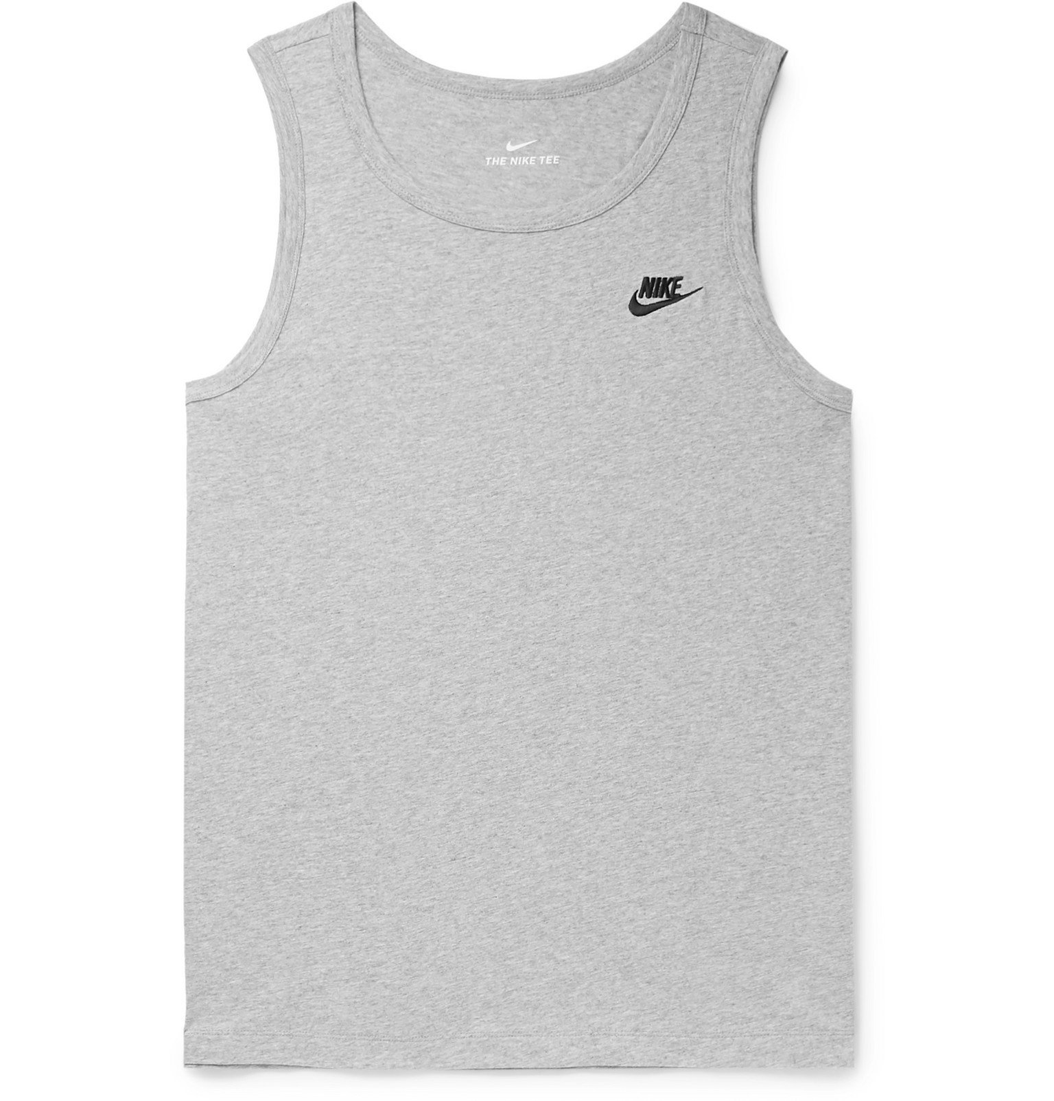 Photo: Nike - Logo-Embroidered Cotton-Jersey Tank Top - Gray