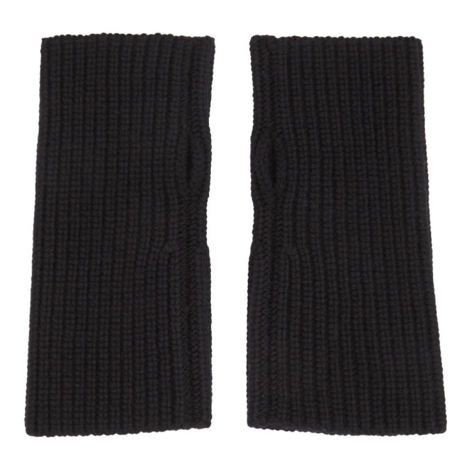 Photo: Dolce and Gabbana Black Wool Fingerless Gloves