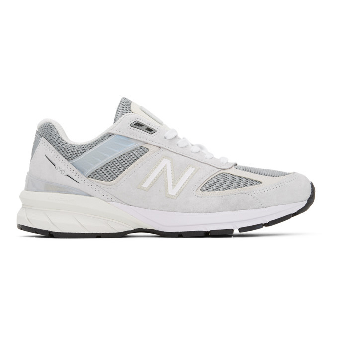 Photo: New Balance Grey and Off-White Made In US 990 V5 Sneakers
