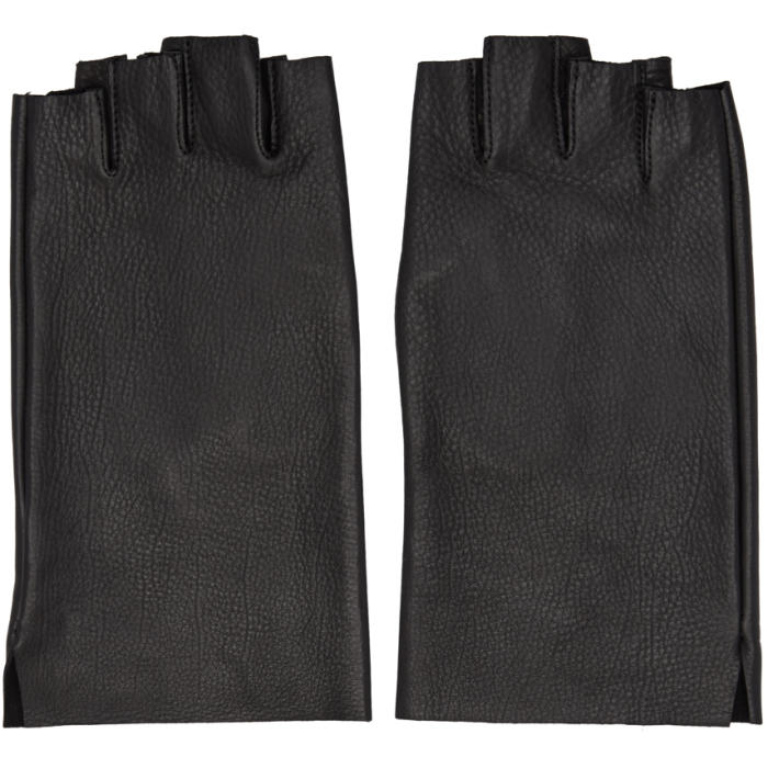 Photo: Attachment Black Leather Fingerless Gloves