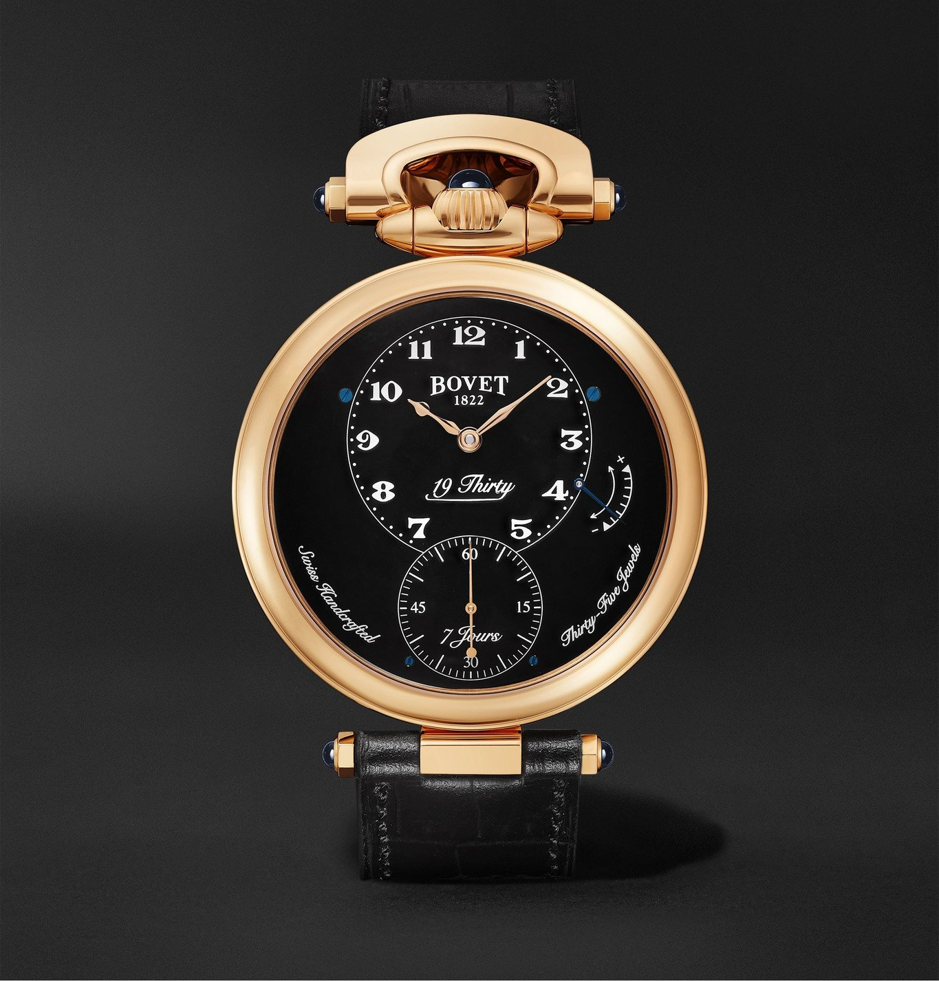 Photo: Bovet - 19Thirty Fleurier Hand-Wound 42mm 18-Karat Rose Gold and Leather Watch, Ref. No. NTR0029 - Black