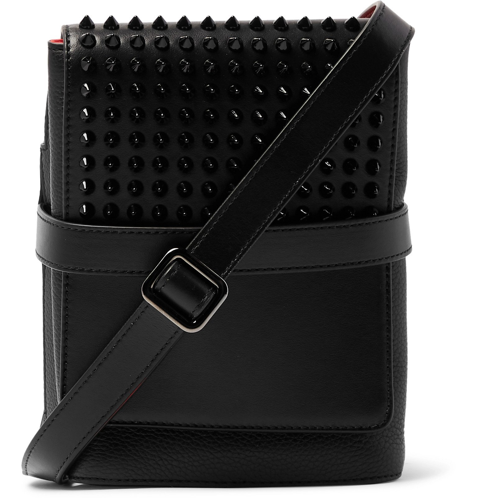 Photo: Christian Louboutin - Benech Spiked Smooth and Full-Grain Leather Messenger Bag - Black